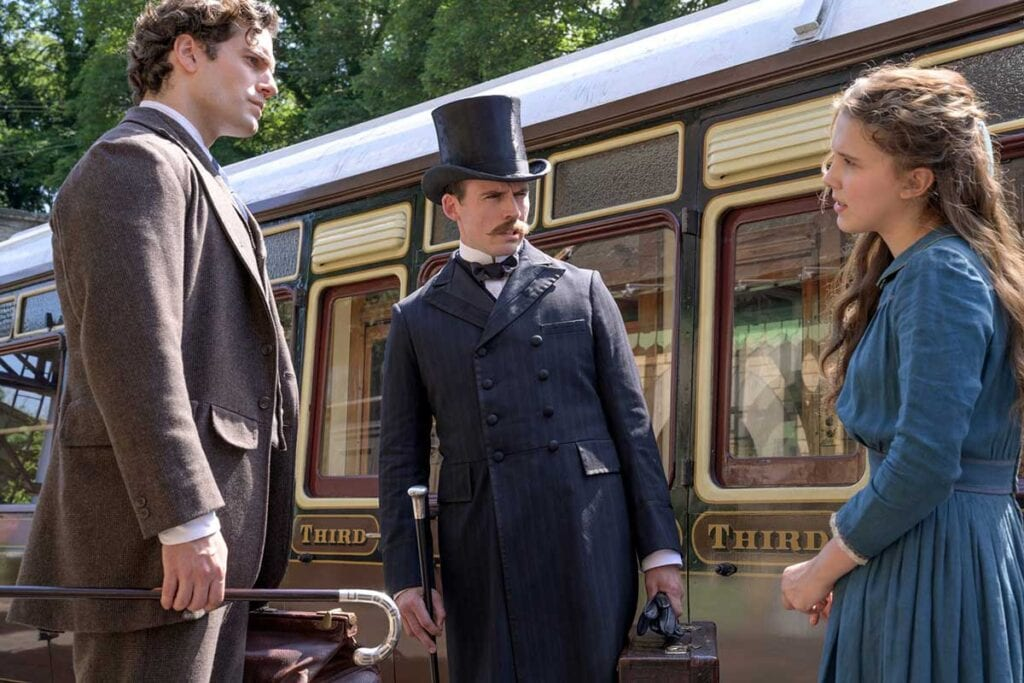 Enola Holmes actors filming at Severn Valley railway