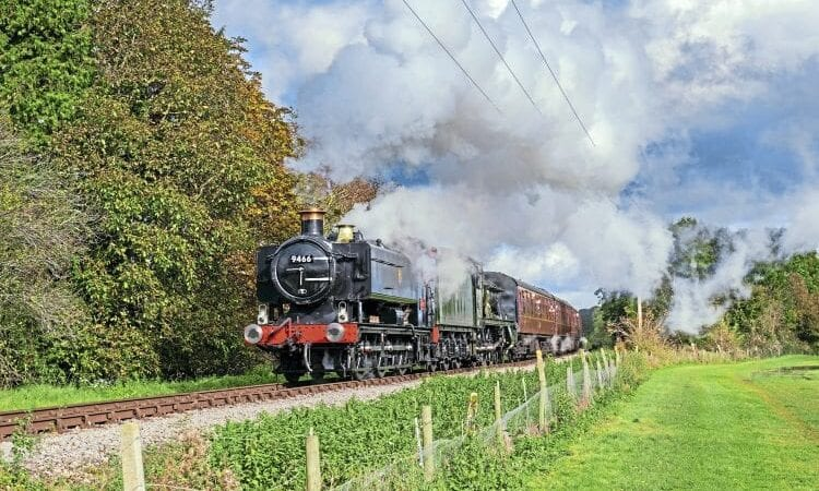 GWR Pannier Tank No. 9466 double heads with 7903 Foremarke Hall on a test run on the GWSR to Cheltenham Racecourse.