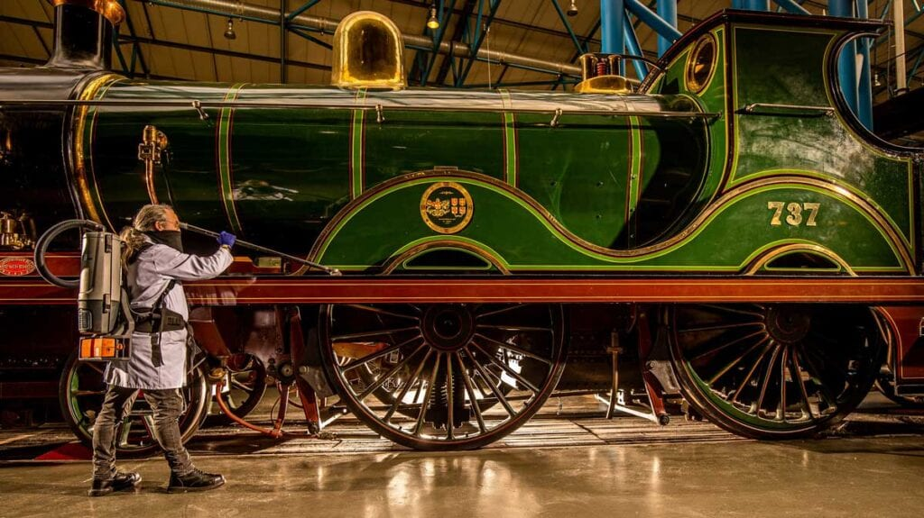 Curatorial Team Assistant Martyn Halman prepares SECR D Class No. 737 ahead of reopening